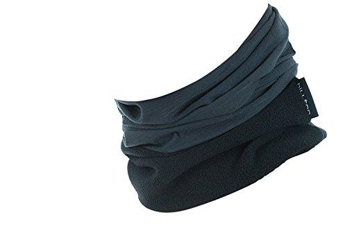 Hilltop Polar Multifunktionstuch mit Fleece, Motorrad Halstuch/Schlauchschal/Ski Gesichtsmaske/TOP Farben, Farbe Polar Tuch:Grau uni mit schwarz