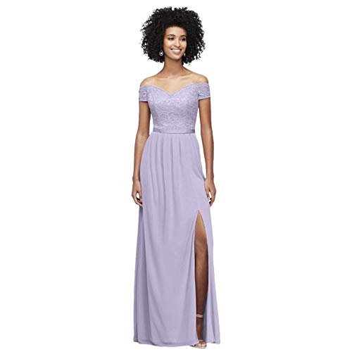 Off-The-Shoulder Lace and Mesh Bridesmaid Dress Style F19950, Iris, 8