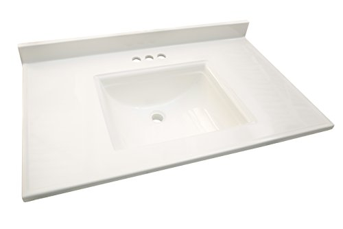 Design House 557645 Camilla Vanity Top with 4 Backsplash, 37 22-inches, Solid White