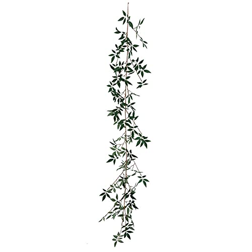 CJFael 1 planta artificial de 180 cm, fácil de doblar, no requiere mantenimiento, tela decorativa de ratán falso verde para ventana, jardín, boda, fiesta, decoración A