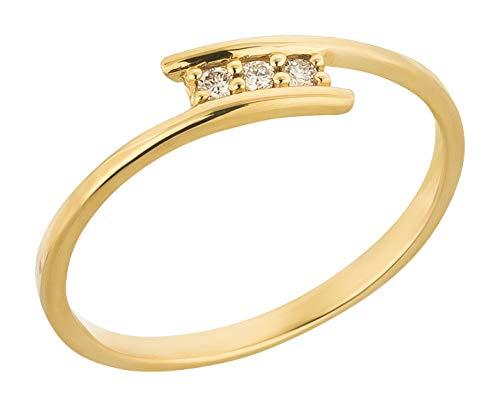 Ardeo Aurum Damenring aus 375 Gold Gelbgold mit 0,06 ct Diamant Brillant 3-Steine-Ring Verlobungsring