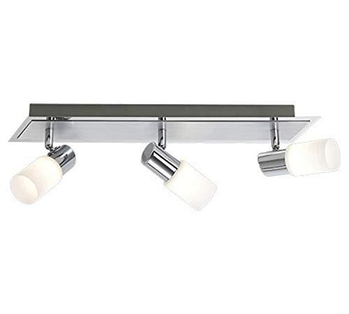Trio-Leuchten LED-Balken Aluminium gebürstet/chrom, Glas weiß gewischt, inklusiv 3x 5W LED, Breite: 50 cm 821410305