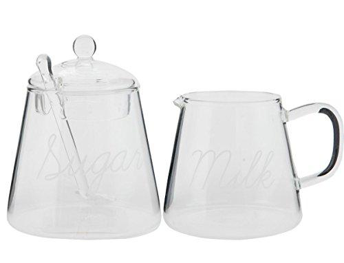 Clayre & Eef 6GL1508 Zuckerdose Zuckertopf & Sahnegießer Milchgießer 2er Set Glas transparent