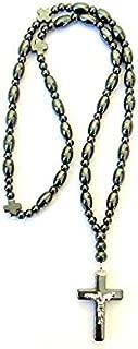 Handmade Hematite Stone Christian Orthodox Komboskoini, Prayer Rope with the Crucifix