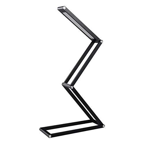 Lampe de Bureau LED, Elzo Lampe de Chevet Lumiere Table Pliable Aluminium Sans Fil USB Rechargeable avec 2 Niveaux de Luminosité, USB Câble pour Enfant/Etude/Lecture/Bureau (Noir)