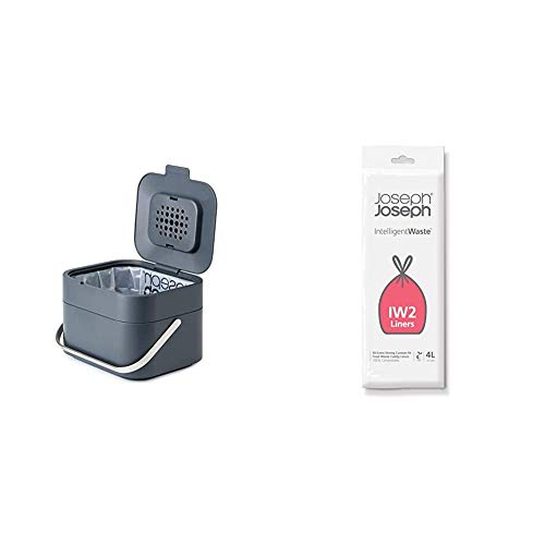 Joseph Joseph Stack 4 Bio-Müllbehälter, Plastik, Graphit + Bio-Müllbeutel 4 Liter, 50er Pack, transparent