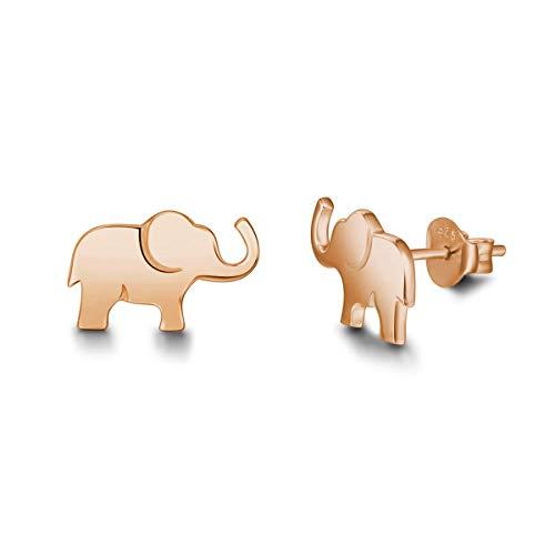 Pendientes de Elefante en Plata de ley 925 Chapado en Oro Rose Joyas para Mujer Niñas - Dimensión: 13.2 * 8.2 mm
