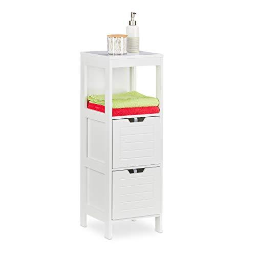 Relaxdays Badezimmerschrank, Landhausstil, HBT: 90 x 30 x 30 cm, 2 Schubladen, 1 Ablage, freistehend, Badregal, weiß