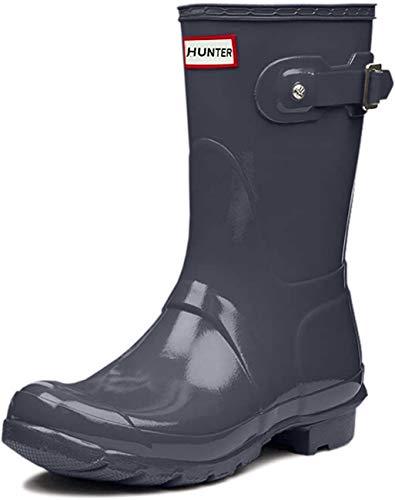 Hunter Original Short Gloss Damen Fest Gummistiefel Wellington Boots - Grau - 41