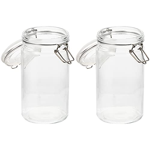 HEMOTON 2Pcs Airtight Glass Canisters with Glass Lids Kitchen Food Storage Jars Mason Jars for Cereal Pasta Sugar Beans Spice Cookie Candy 1200ML