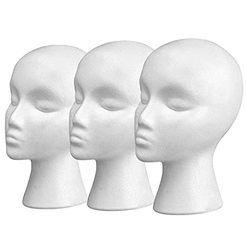 11' 3 Pcs Styrofoam Wig Head - Tall Female Foam Mannequin Wig Stand and Holder for Style, Model And Display Hair, Hats and Hairpieces, Mask - for Home, Salon and Travel