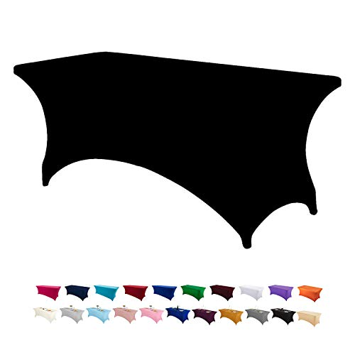 LZY Spandex Fitted Stretch Table Cover for 6 ft or 4ft or 8ft Folding Table, Rectangular Cocktail Tablecloth, Perfect for Party or Banquet