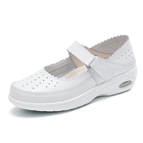 [Bornran] ナースシューズ スリッポン ナースシューズ 白 かわいい 履きやすいナースシューズ 外反母趾 ナースシューズ 白 23.0cm