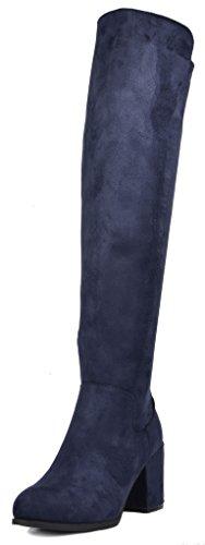 TOETOS Women's Prade-01 Dark Blue Suede Over The Knee Chunky Heel Boots Size 8 M US
