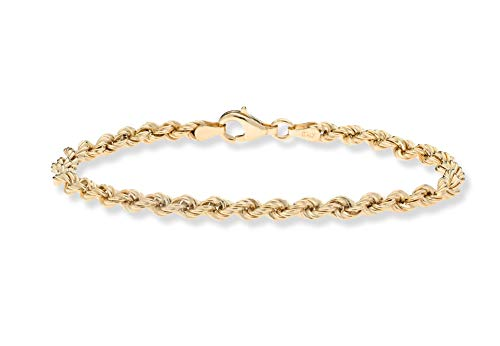 Miabella 18K Gold Over Sterling Silver 4mm Classic Rope Chain Link Bracelet for Women Men, 6.5, 7, 7.5, 8, 8.5 Inch 925 Made in Italy (7 Inches)