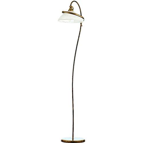 Stehlampe Antik Wohnraumleuchte Messing Optik Glas Schirm Jugendstil edel Esszimmer Leuchte