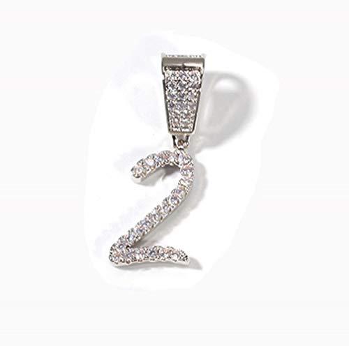 KMASAL Cadena de hip hop totalmente helada con diamante de laboratorio cursivo alfanumérico colgante collar para hombres y mujeres