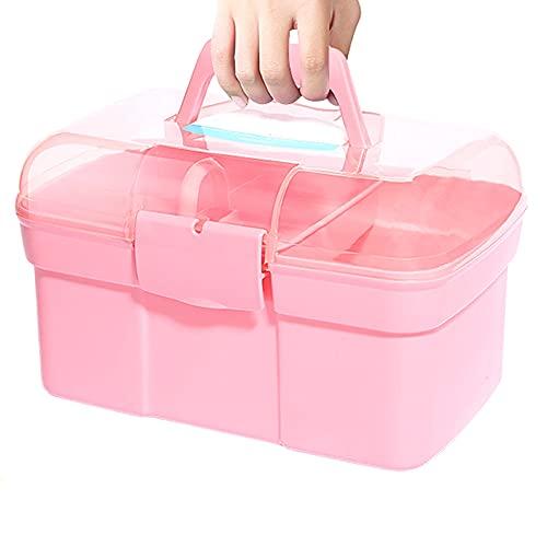 Caja de herramientas de doble capa de plástico transparente de 11 pulgadas, caja de almacenamiento multifunción, caja de almacenamiento de mango portátil para manualidades y cosméticos