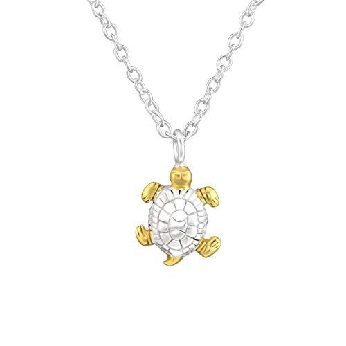 Laimons - Collana da bambina con ciondolo a forma di tartaruga 9 mm con catena da 45 cm, opaca, in argento Sterling 925 placcato oro