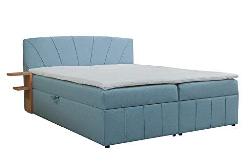 MOEBLO Boxspringbett mit Bettkasten 180x200 in Stoff mit Ablage und 5cm Topper - Bonell-Federkernmatratze | H2/H3 Härtegrad - Caro (Blau, 180 x 200 cm)
