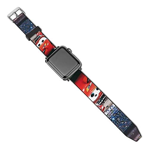 Cars Pixar - Correa de repuesto para Apple Watch de 44 mm, 42 mm, 40 mm, 38 mm, suave de piel deportiva con cierre clásico para iWatch Series SE 5 4 3 2 1 para mujeres y hombres