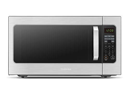 Toshiba ML2-EM62P(SS) Microwave Oven with Built-in Humidity Sensor, 6 Automatic Preset Menus, ECO Mode, Sound On/Off Option and Position Memory Function 2.2 cu. ft., 1200W, Stainless Steel