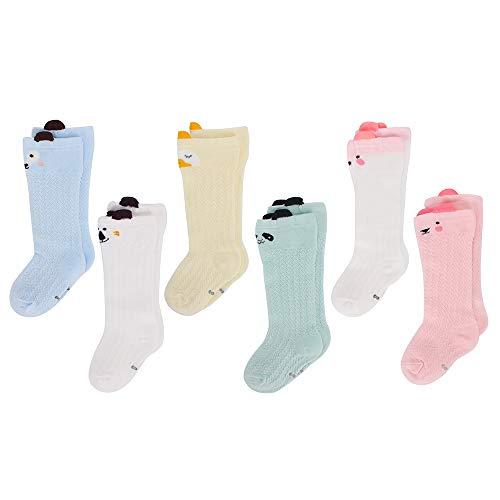 LACOFIA 6 Pares de calcetines largos de altos para bebé niñas Medias de algodón de punto princesa infantiles niña 0-1 años