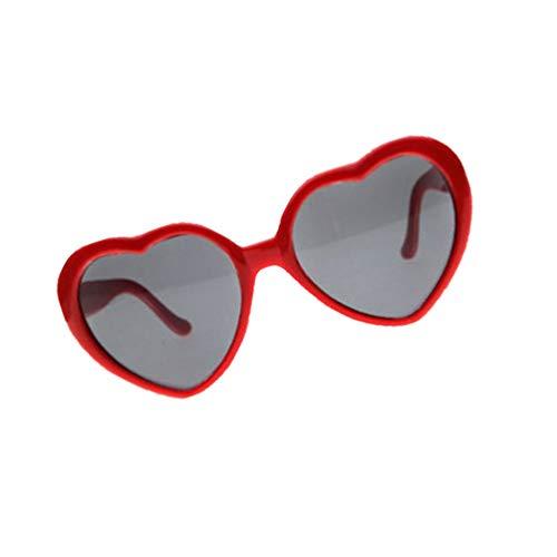 KESYOO Herzform Sonnenbrille Damen Herren Spezialeffekte Brille Beugungsbrille Rot Neuheit Partybrille Karneval Halloween Party Bar Maskerade Nachtclub Musikfestival Kostüm Foto Requisiten