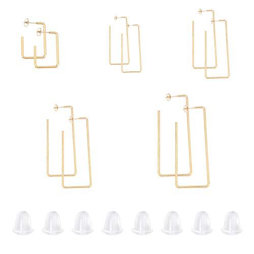 UNICRAFTALE 10 Pares 5 tamaños Aretes Rectangulares Dorados Pendientes de Acero Inoxidable Pendientes Rectangulares con Tuercas Pendientes de Metal para Hacer Aretes