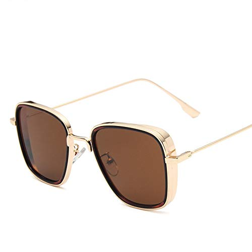 Único Gafas de Sol Sunglasses Nuevas Gafas De Sol De Lujo para Hombre, Montura Cuadrada Dorada, Diseño De Parasol Fresco