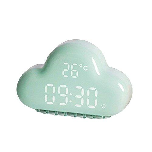Cikuso Despertador Digital de la Nube, Control tactil USB Recargable Control de Sonido Calendario electronico de la Temperatura 3D Reloj Digital Inteligente