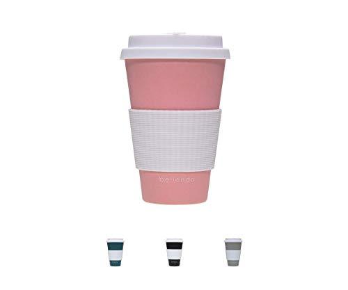 bellendo® Kaffeebecher to go Bambus 400ml - Coffee to go Becher Bamboo für Kaffee & Tee - to go Becher mit Deckel, Griff & Auslaufschutz, rosa