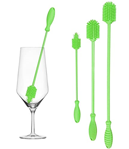 Gute Silicone Bottle Brush, Bottle Cleaner Brushes Set of 3, Water Bottle Cleaning Brush with Long Handle for Cleaning Baby Bottles, Hydro Flasks, Vase, Glassware, Narrow Neck Containers (Green)