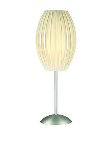 Lite Source LS-2875SS/WHT Egg Table Lamp, Stainless Steel Base with White Pleated Shade