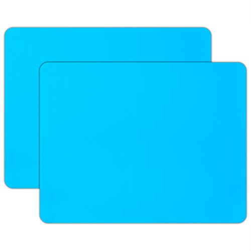"""2 PCS Silicone Mat for Crafts, Gartful Extra Large Nonskid Nonstick Silicone Sheet, Jewelry Casting Mat, Craft Mat for Epoxy Resin, Glitter Slime, Paint, 23.6"""" by 19.7"""", Blue"""