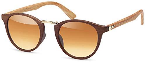 styleBREAKER Sonnenbrille in Holz Optik und runden Gläsern, Kunststoff-Metall-Gestell, Unisex 09020083, Gestell Braun-gold / Glas Braun Verlauf,