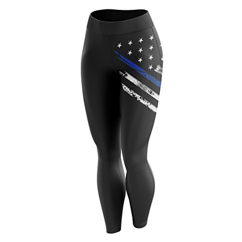 Tactical Pro Supply American Flag Leggings for Women Workout High Waist Yoga Pants for Ladies  BL Crest Flag Black Small