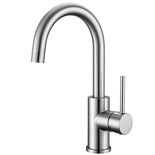 Bar Faucets Single Hole, WiPPhs Brushed Nickel Mini Kitchen Sink Faucets, Single Handle Lead-Free Modern Mixer Taps, Faucet for Bar Sink
