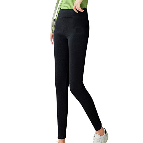 Super Thick Cashmere Wool Leggings Women's Fleece Lined Winter Leggings High Waisted Thermal Warm Yoga Pants (Black, 3XL)