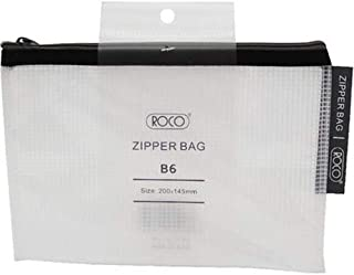 Roco RQ-FB8064BLK B6 Topload Opening Document Pouch, Clear-Black Accent