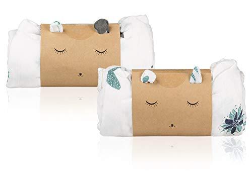 2 couvertures en mousseline de coton bio et bambou pour bébé | Pack Gaze Swaddle Wrap Unisexe | Draps nouveau-né polyvalents | Chiffons ultra doux et respirants | Grandes musselines 120X120cm