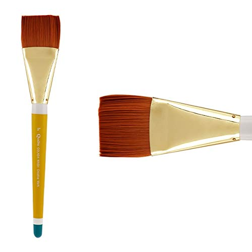Creative Mark Qualita Golden Paint Brush Taklon Short Handle Paint Brush for Acrylics, Oils, Fine Art, Heavy Bodied Media - Single Brush - [Colada Wash - Size 2in]
