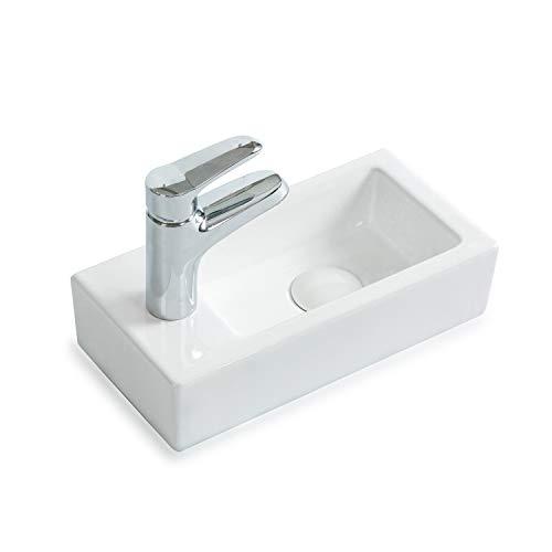 STILFORM Gäste WC Waschbecken aus feinster Keramik in Brillant Weiß für Wandmontage oder als Aufsatzwaschbecken mit Hahnloch Maße 370 x 185 x 90 mm (Hahnloch Links)