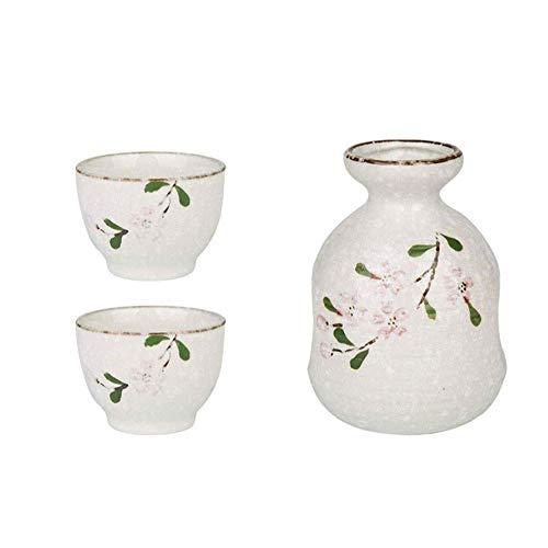 DIHAO Sake Set Japanese Sake Cup Set Traditional Ceramic Cups Crafts Wine Glasses 3 Piece,Tea Set Gift