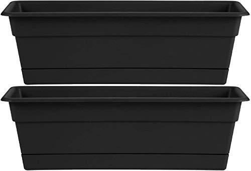 Bloem DCBT24-00 Dura Cotta Plant Window Box, 24-Inch, Black, 3 Gallon - New Version