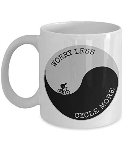 330ml Tazas de té Tazas para espresso Preocuparse Menos Ciclista Más Yin Yang Art Ciclista Taza bebida café Regalo Vajilla de Agua/Leche para Hogar,Oficina