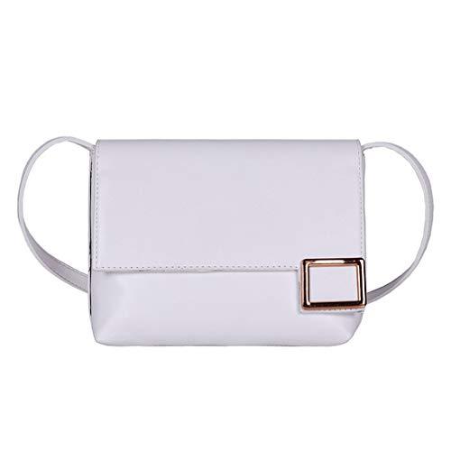 Damestas Effen kleur Eenvoudige schoudertas Kleine vierkante tas Diagonale handtas Wit