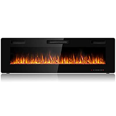 Tangkula 60 Inches Recessed Electric Fireplace, in-Wall & Wall Mounted Electric Heater with Adjustable Flame Color & Speed, Remote Control, Touch Screen, 750-1500W (60 Inches)