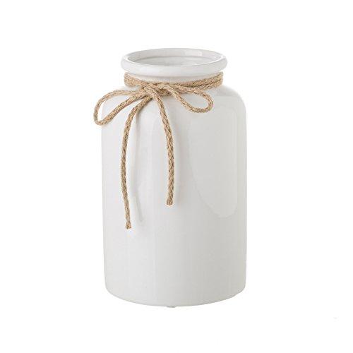 Dcasa - Jarrón de cerámica Blanco de diseño rústico para decoración