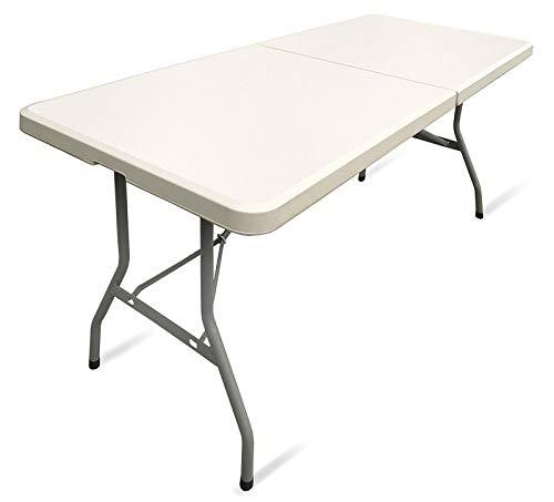 Carparts-Online 33714 tuinfeest klap tafel met draaggreep crème beige licht 183x75x74 cm